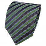 Designer Seidenkrawatte grün anthrazit blau weiß gestreift - Krawatte Seide Tie