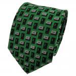 TigerTie Seidenkrawatte grün schwarz grau gemustert - Krawatte Seide Binder