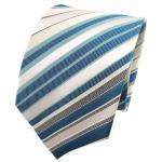 TigerTie Seidenkrawatte türkis mint weiß creme schwarz gestreift - Krawatte Tie