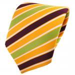 TigerTie Satin Krawatte gelb sonnengelb bordeaux grün weiß gestreift - Binder