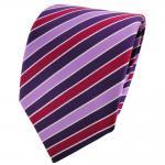TigerTie Satin Krawatte lila violett flieder rot silber gestreift - Binder Tie
