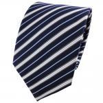 Satin Seidenkrawatte blau dunkelblau silber grau gestreift - Krawatte Seide