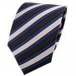 Satin Seidenkrawatte blau anthrazit silber schwarz gestreift - Krawatte Seide