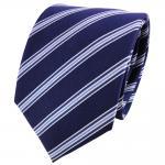 Satin Seidenkrawatte blau dunkelblau silber gestreift - Krawatte Seide Tie