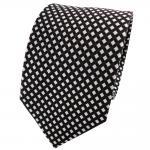 Designer Satin Seidenkrawatte schwarz silber gepunktet - Krawatte Seide Tie