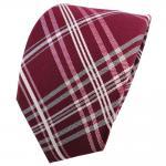 Designer Seidenkrawatte rot himbeerrot silber grau kariert - Krawatte Seide Tie