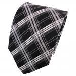 TigerTie Seidenkrawatte schwarz silber anthrazit grau kariert - Krawatte Seide