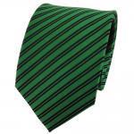 TigerTie Seidenkrawatte grün grasgrün schwarz gestreift - Krawatte 100% Seide