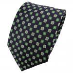 TigerTie Seidenkrawatte grün silber schwarz kariert - Krawatte 100% Seide