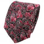 TigerTie Seidenkrawatte rosa magenta silber schwarz paisley -Krawatte 100% Seide
