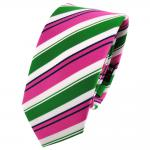 Schmale TigerTie Krawatte pink grün weiß schwarz gestreift - Schlips Binder