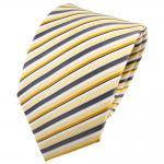 TigerTie Seidenkrawatte gelb goldgelb silber anthrazit gestreift - Krawatte Tie