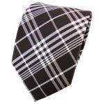 TigerTie Seidenkrawatte braun dunkelbraun silber grau kariert - Krawatte Seide