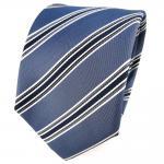 TigerTie Seidenkrawatte grau blaugrau anthrazit silber gestreift - Krawatte Tie