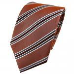 TigerTie Seidenkrawatte braun kupferbraun anthrazit silber gestreift - Krawatte