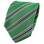 TigerTie Seidenkrawatte grün smaragdgrün anthrazit silber gestreift - Krawatte
