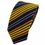 Schmale TigerTie Krawatte gelb dunkelgelb blau schwarz gestreift - Binder Tie