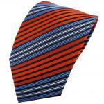 TigerTie Krawatte orange blau schwarz silber gestreift - Binder Tie