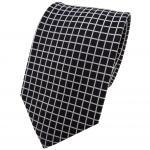 TigerTie Seidenkrawatte silber schwarz kariert (Gittermuster) - Krawatte Seide