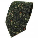 TigerTie Designer Krawatte in tannengrün gold rot schwarz Paisley gemustert