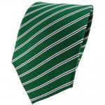 TigerTie Seidenkrawatte in grün silber schwarz gestreift - Krawatte 100% Seide