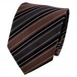 TigerTie Seidenkrawatte braun schwarz anthrazit weiß gestreift - Krawatte Seide