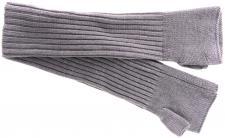 Strick Handstulpen Armstulpen in grau Uni - fingerlose Handschuhe Gr. M