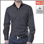 Designer Herrenhemd Farbe grau-schwarz uni langarm Größe M