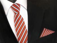 schmale TigerTie Krawatte +Einstecktuch orange rotorange creme schwarz gestreift