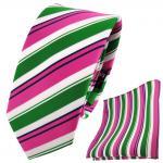 schmale TigerTie Krawatte + Einstecktuch pink grün weiß schwarz gestreift