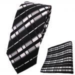 schmale TigerTie Krawatte + Einstecktuch schwarz anthrazit silber grau gestreift