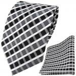 TigerTie Designer Krawatte + Einstecktuch anthrazit grau silber weiss gestreift