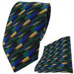 TigerTie Krawatte + Einstecktuch in grün blau schwarz gold gestreift