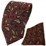 TigerTie Krawatte + Einstecktuch in bordeaux gold grün schwarz Paisley