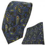TigerTie Krawatte + Einstecktuch in blau gold rot schwarz Paisley