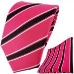 TigerTie Designer Krawatte + Einstecktuch in pink rosa schwarz weiß gestreift
