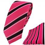 schmale TigerTie Krawatte + Einstecktuch in pink rosa schwarz weiß gestreift