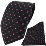 schöne TigerTie Krawatte + Einstecktuch in schwarz silber rosa gepunktet