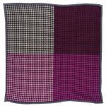 Multi Einstecktuch in magenta rosa lila beige schwarz gemustert - 100% Wolle