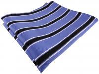 TigerTie Seideneinstecktuch in blau schwarz weiß gestreift - 100% reine Seide