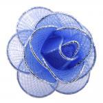 Damen Halstuchhalter Schalhalter blau silber Rosenform - Tuchhalter Rose