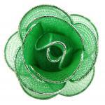 Damen Halstuchhalter Schalhalter grün silber Rosenform - Tuchhalter Rose