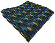 TigerTie Einstecktuch in grün blau gold schwarz gestreift gemustert - Tuch