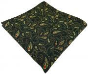 TigerTie Einstecktuch in tannengrün gold rot schwarz Paisley gemustert - Tuch