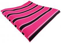 TigerTie Einstecktuch in pink rosa schwarz weiß gestreift - Stecktuch Tuch