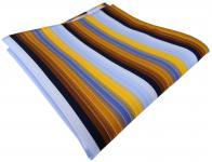 TigerTie Einstecktuch in gelb orange braun blau silber marine gestreift