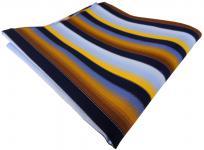 TigerTie Einstecktuch in gelb orange kupfer blau hellblau marine gestreift