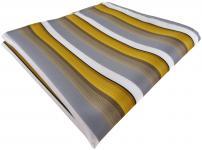 TigerTie Einstecktuch in gold grau weiss gestreift - Größe 30 x 30 cm