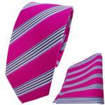 schmale TigerTie Krawatte + Einstecktuch pink blau schwarz weiss gestreift