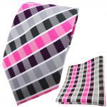 TigerTie Designer Krawatte + Einstecktuch lila pink anthrazit weiß gestreift